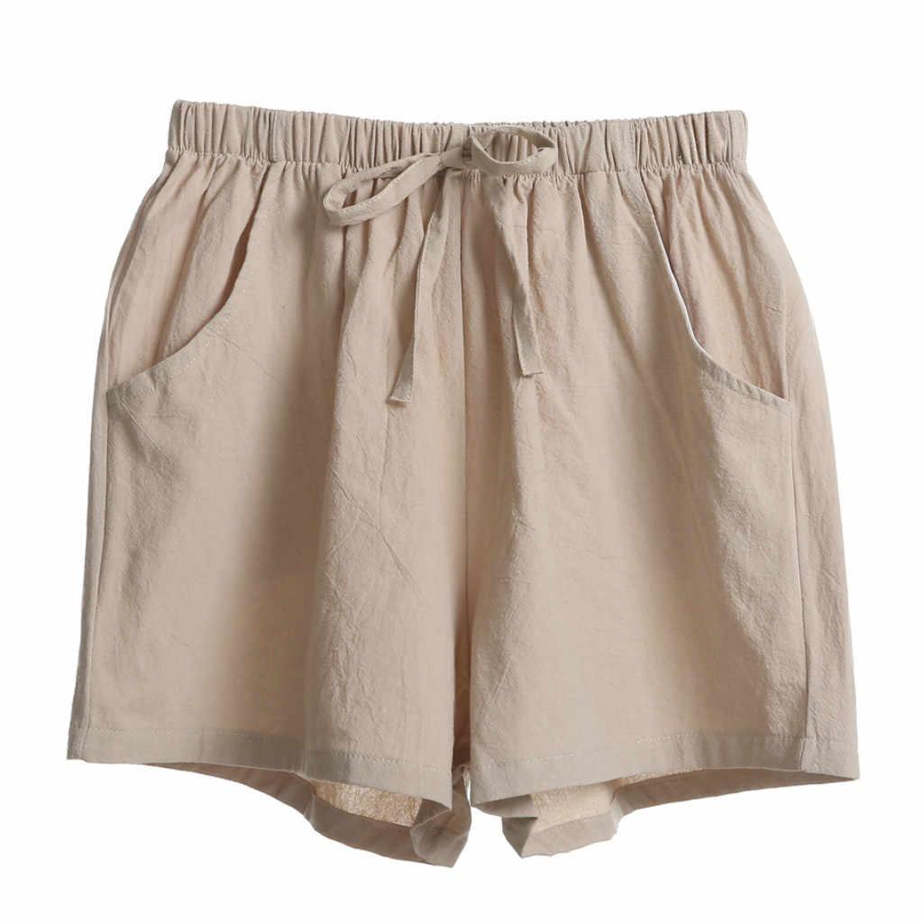 Damskie wysokiej talii spodenki jednolity kolor dorywczo szerokie nogawki krótkie spodnie mody na co dzień proste spodenki New Arrival # P10