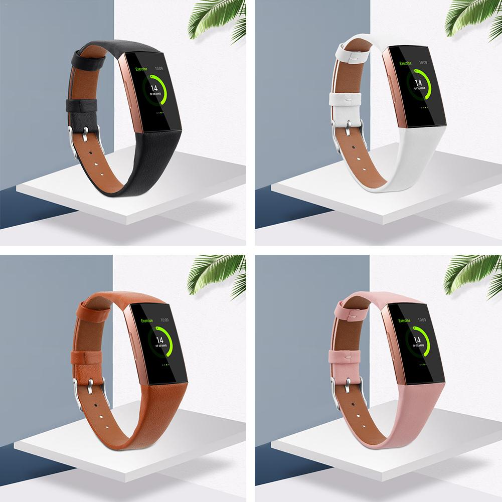 Leather Watch Band For Fitbit Charge 3 & Charge 3 SE Genuine Leather Band Strap Wristband For Women Men Small & Large