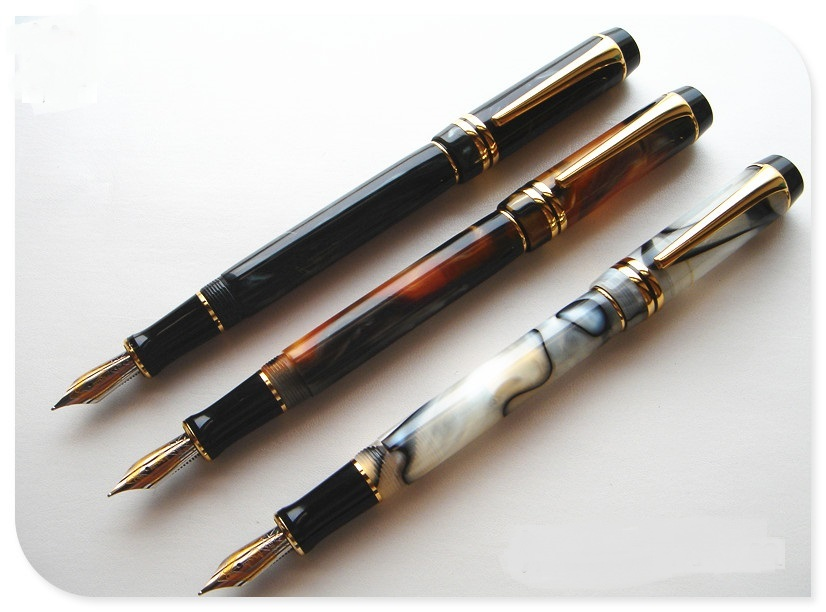 3pcs Kangaroo Free shipping NIB Ping cursive italic style celluloid 0.7MM top DUOFOLD Unique design acrylic fountain Pen