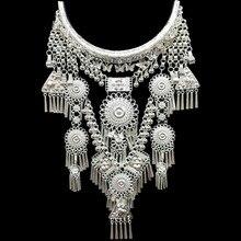Colares & pingentes bohemia borlas colar retro yunnan étnico exagero miao prata dança acessórios suporte por atacado