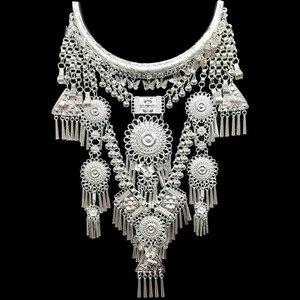 Image 1 - Kolye ve kolye Bohemia püsküller kolye Retro Yunnan etnik abartı Miao gümüş dans aksesuarları destek toptan