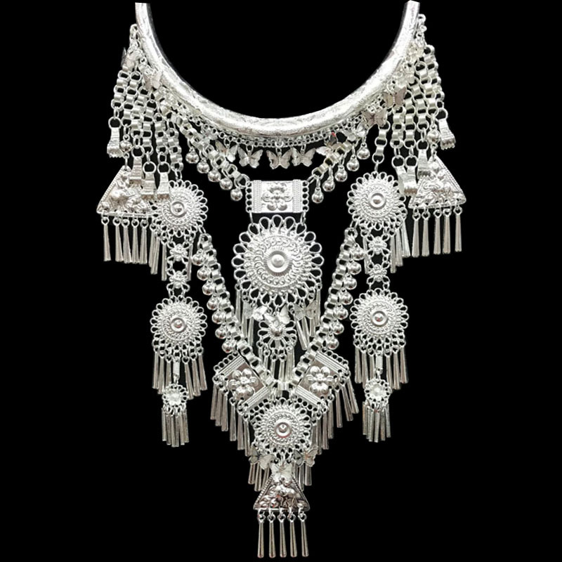 Ethnic Miao silver big palace collar necklace jewelry peacock dance O107