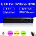 Hi3521a blue-ray 1080 p/960 p/720 p/960 h 16ch/8ch 5 em 1 coaxial híbrido nvr tvi ahd dvr de vigilância de vídeo frete grátis