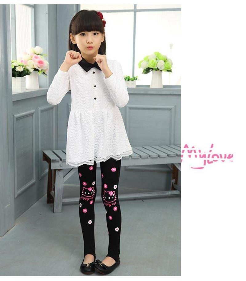 Весенне-осенние леггинсы для девочек; обтягивающие черные хлопковые эластичные штаны; леггинсы для девочек с рисунком кота, банта, цветов, кота; детские штаны