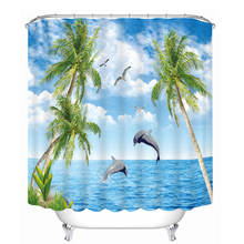 3D Seascape Pattern Shower Curtains Dolphin Coconut Tree Bathroom Curtain Waterproof Thickened Bath Curtain Customizable цены онлайн