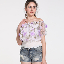 Womens Tops and Blouses Ruffle Chiffon Blouse Summer Off Shoulder Tops White Women Short Sleeve Shirts Korean Fashion Clothing new big size ruffle hem womens tops and blouses 2019 black burgundy stretch solid top women short sleeve summer blouse