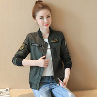 2018 Short jacket female spring new large size women's army green small jacket thin Slim baseball suit pilots jacket female
