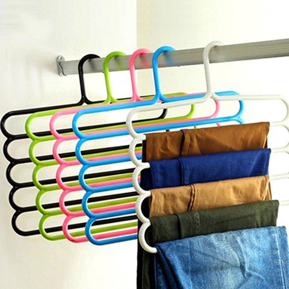 5pcs Drying Rack Laundry Racks Shelf Random Color Plastic Coat Hanger Pants Scarf Multifunctional Convenient Device Storage Rack