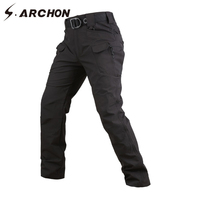 S ARCHON New IX7 Waterproof Militar Men Pants Soft Shell Multi Pocket Tactical Cargo Slim Pants