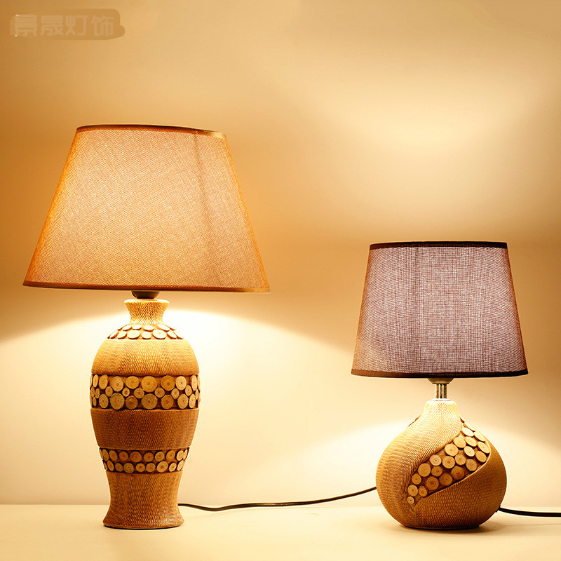 Nordic Простой творческий пастырской cermic дерево Ткань LED E27 Настольная лампа для Гостиная Спальня прикроватные исследование деко 1930