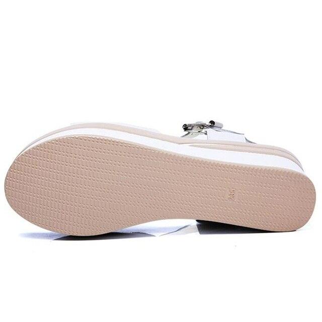 WDZKN New High Heel Women Sandals Thick Bottom Wedge Sandals Split Leather Summer Casual Shoes Women Platform Sandals H8626