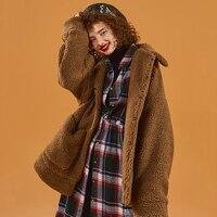Winter Shaggy Cardigan Women Fleece Faux Fur Coat Thickening Warm Teddy Bear Jacket 2019 Fashion Print Winter Coat New Series