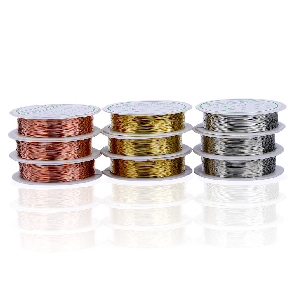 0.3MM DIY Handmade Material Metal Copper Wire Gold Silver Jewelry Color Stereotypes Line ...