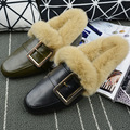Autumn Winter Metal Street Fashion  Cotton Shoes Warm Short Plush Shoes Low Doug Women Flat Shoes