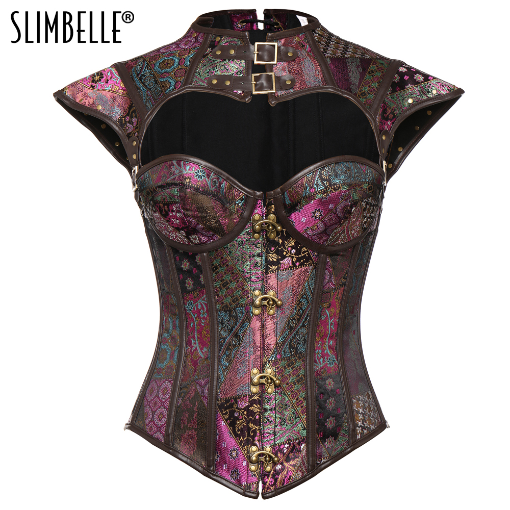 Women Retro Steampunk Gothic   Corsets   and   Bustiers   Burlesque Lolita Waist Trainer   Corset   Overbust Steel Boned 2 in 1 Vest & Tops
