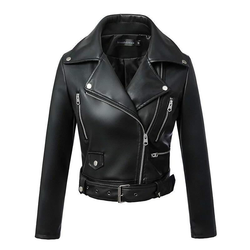 2019 New Faux   Leather   Jackets Zipper Basic Coat Turn-down Collar Biker Jacket with Blet Fashion Women Autumn Winter Black
