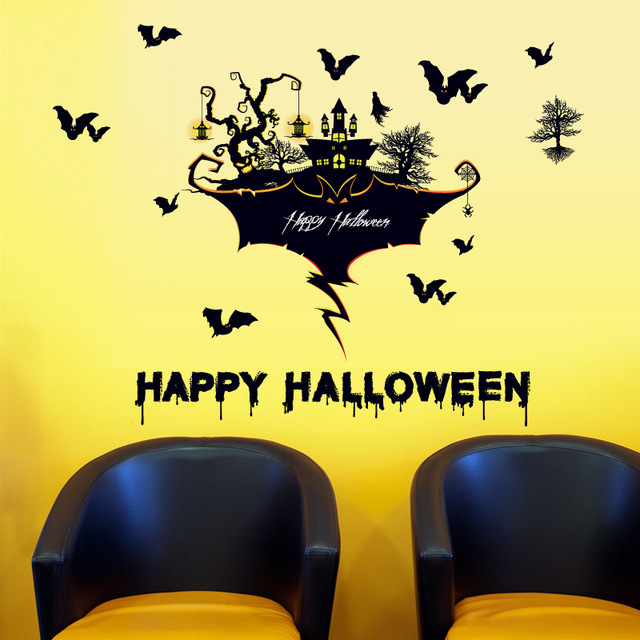 Hy Horror Scary Bat Gl Sticker Bedroom Bar Tree And Castle Removable Decorative Wall Stickers Black