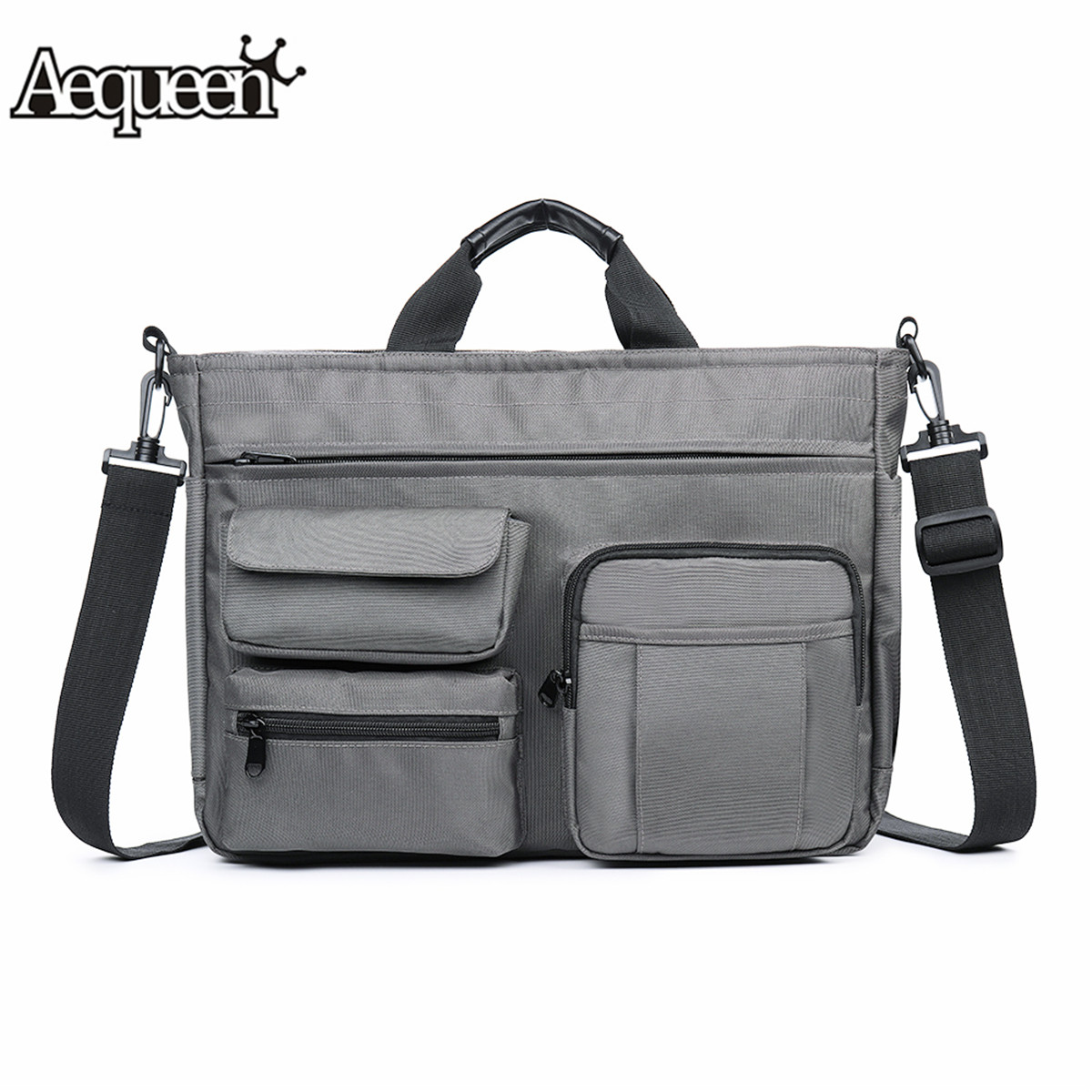 Aequeen Fashion Office Bags For Men Nylon Waterproof Briefcase 14 Inch Laptop Tote Bag Multi-pocket Male Business Messenger Bags