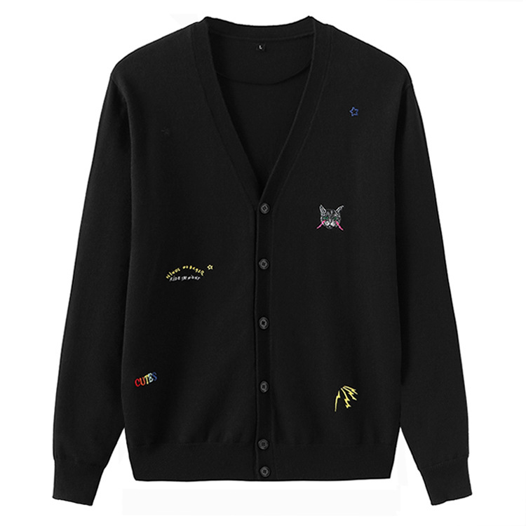 New 2019 Man Luxury Embroidered Cats Lightning Stars Knit Casual Sweaters Cardigan Asian Plug Size High Quality Drake #AA9