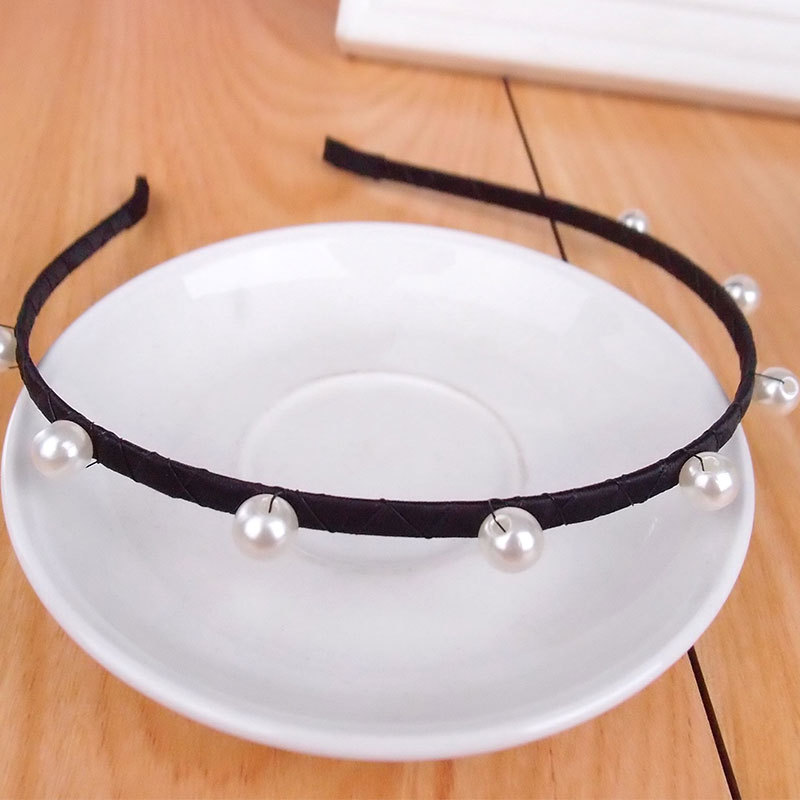 women hair accessories ornaments decorative black hairbands with pearls cheap