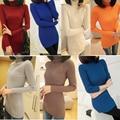 Женщины воротник-хомут длинная вязать свободного покроя длинный рукав пуловер пиджаки топы свитер