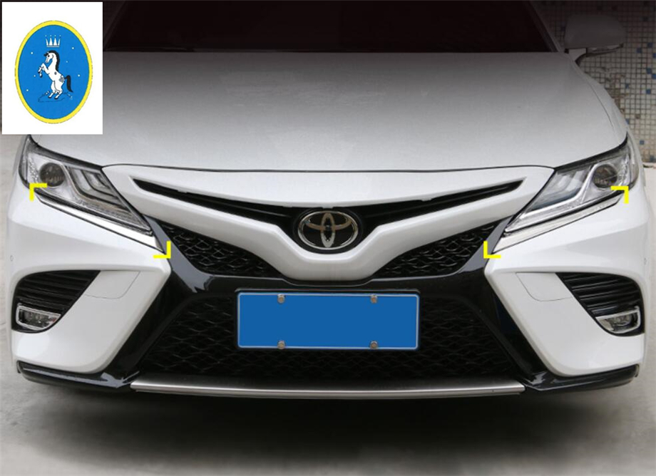 Exterior Parts Nice Yimaautotrims Auto Accessory Front Head Lights Lamp Eyelid Eyebrow Frame Cover Trim Bright Style Fit For Toyota Camry 2018 2019