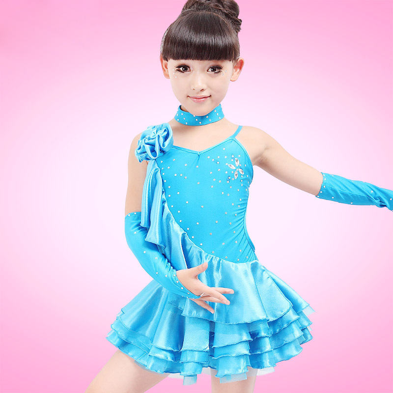 Free Shipping Girls Dance Sport Dresses Latin Ballroom Dress Girls Costumes Children Samba Dance Costumes Flamengo Sequin Dress
