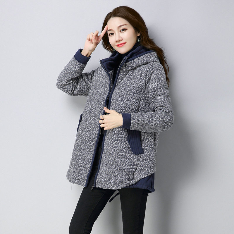 Loose Plus Size Padded Cotton Women Long Parkas 2018 Winter New Korean Casual Vintage Hooded Splice Middle-aged Thick Coat LQ131