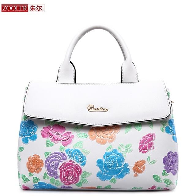 ZOOLER women bag 2018 embossed colored flower pattern genuine leather bag real leather handbag luxury  bolsa feminina #2939