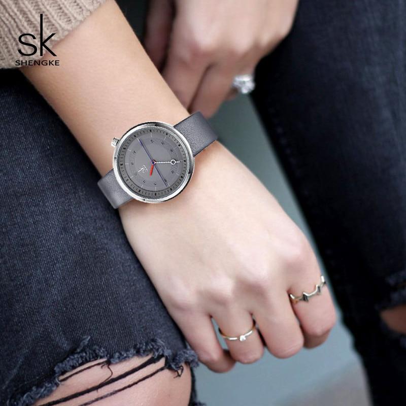 Shengke Fashion Women Watches Black Leather Strap Reloj Mujer 2019 New Creative Quartz Watch Women's Day Gift For Women #K8044