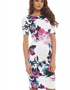 47faa65ce1c Женское платье повседневное летнее vestidos Оболочка Плюс Размер 28 стилей  цветочный принт с круглым вырезом платья 106-8