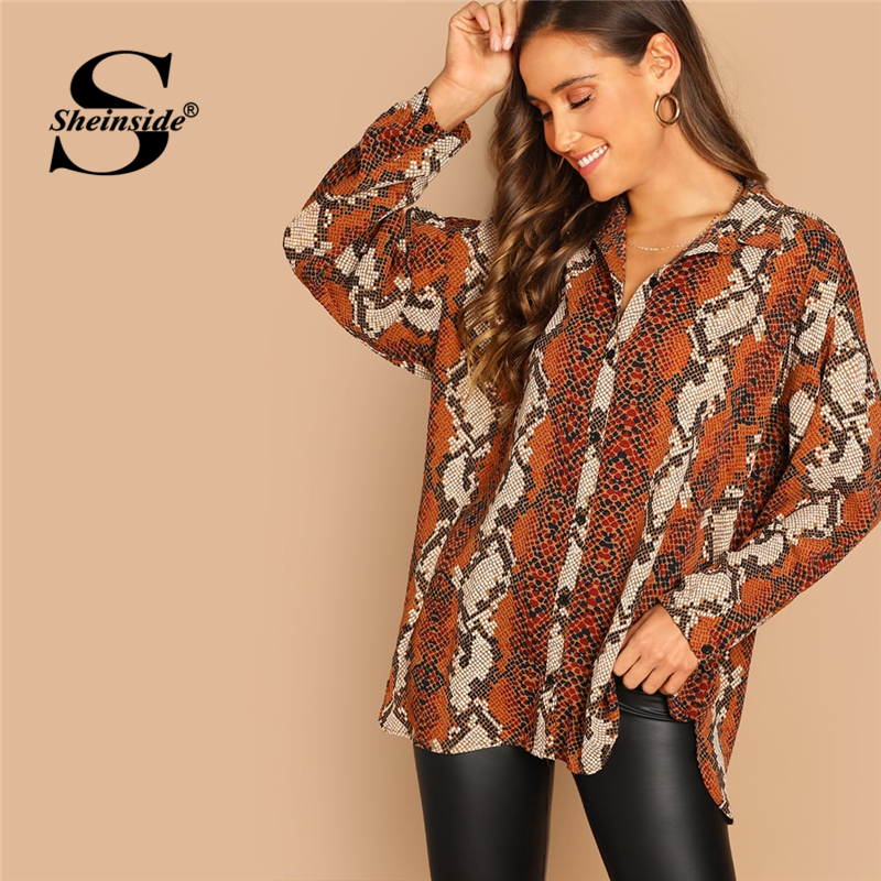 Sheinside Oversized Snake Print Women   Blouse     Shirt   2019 Autumn Long Sleeve Top Female OL Work Casual Womens Tops And   Blouses