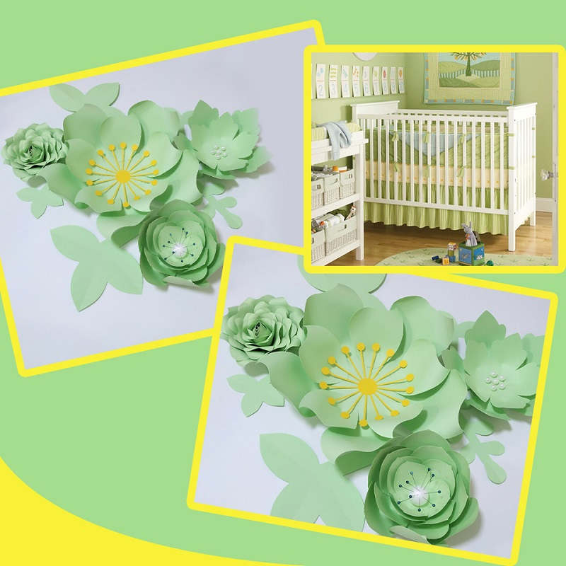 Handmade Light Green Rose Diy Paper Flowers Leaves Set For Party Wedding Backdrops Decorations Nursery Wall Deco Video Tutorials