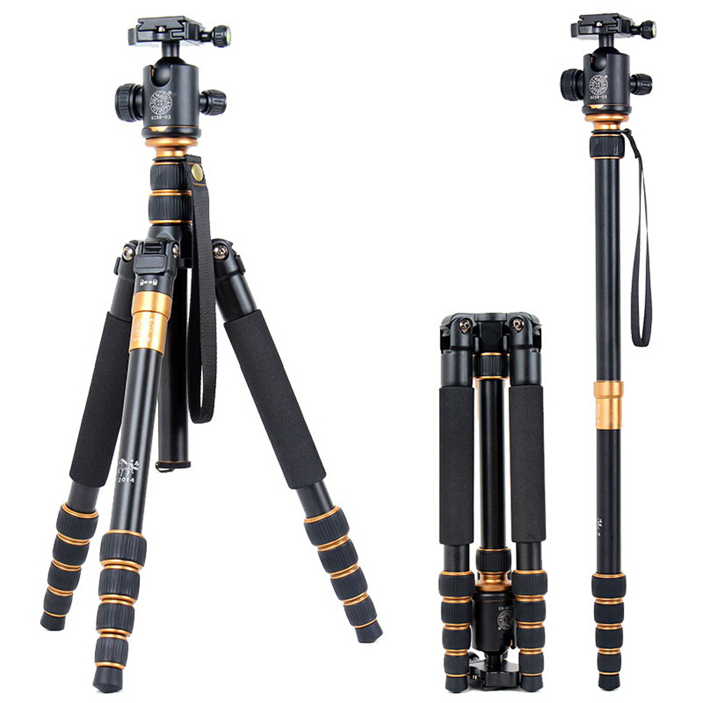 QZSD Q668 Professional Magnesium&Aluminum Alloy Portable Traveling Tripod Monopod with Ball Head for SLR Camera Max Load 13Kg