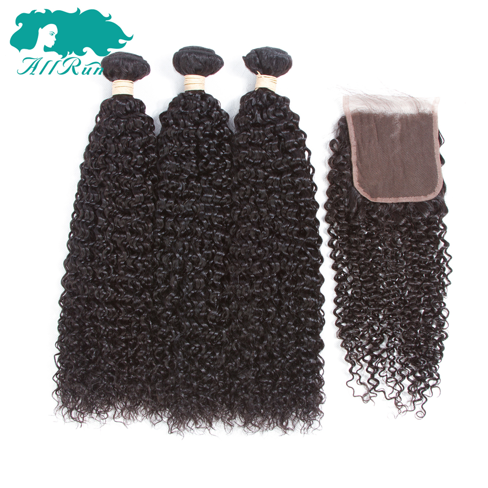 Allrun Hair Human Hair Bundles Brazilian Kinky Curly with Closure Middle Part Natural Black Non Remy Hair Free Shipping