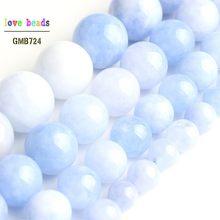 Perles rondes d'angélite bleu clair pour la fabrication de bijoux, fil de 15 pouces 6mm 8mm 10mm 12mm
