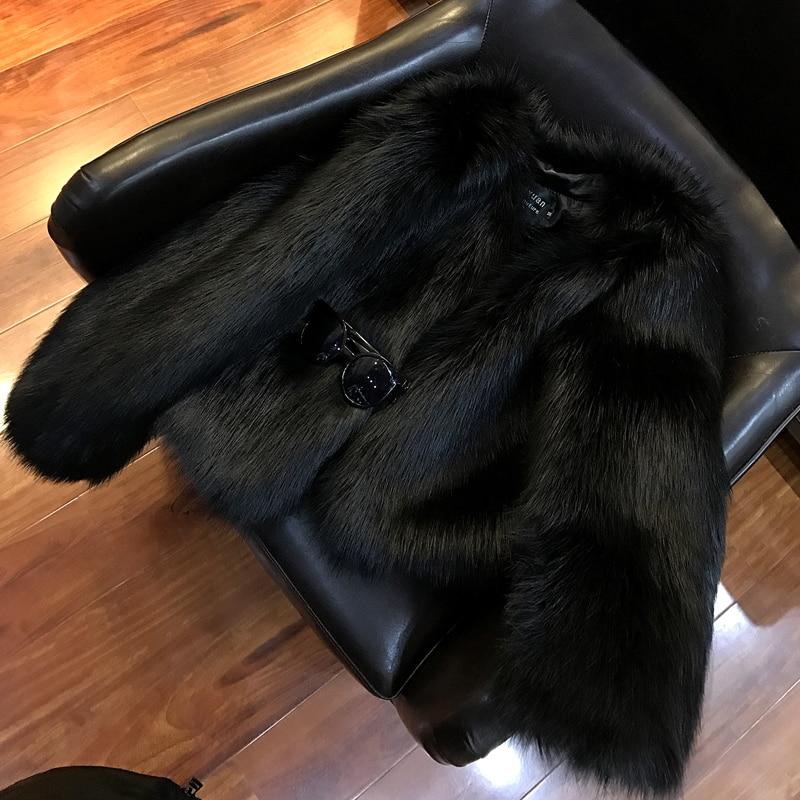 Renard Imitation À Manteau Femme Taille Large noir Limitée Importations Complet cou Haining Nouvelle De Vert Paragraphe Gilet O Fourrure Lapin Hiver Veste WncaZW