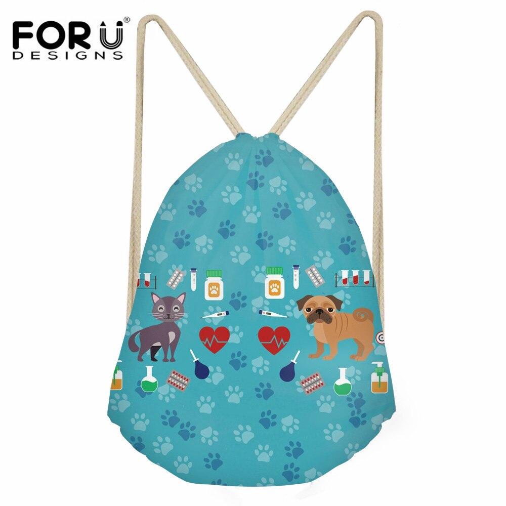 FORUDESIGNS Veterinarian Printing Women Drawstring Bag Casual String Backpack For Girls Boys Polyester Shoes Storage Bag Sack