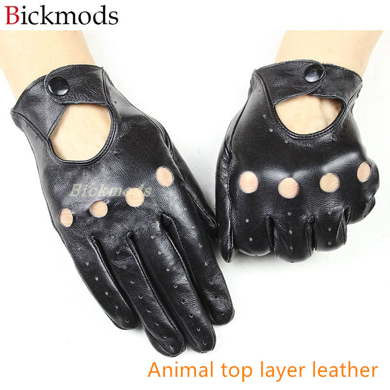 Leather Gloves Women's Single Layer Thin Unlined Hollow Style Boys Outdoor Riding Driving Driver Gloves Free Shipping