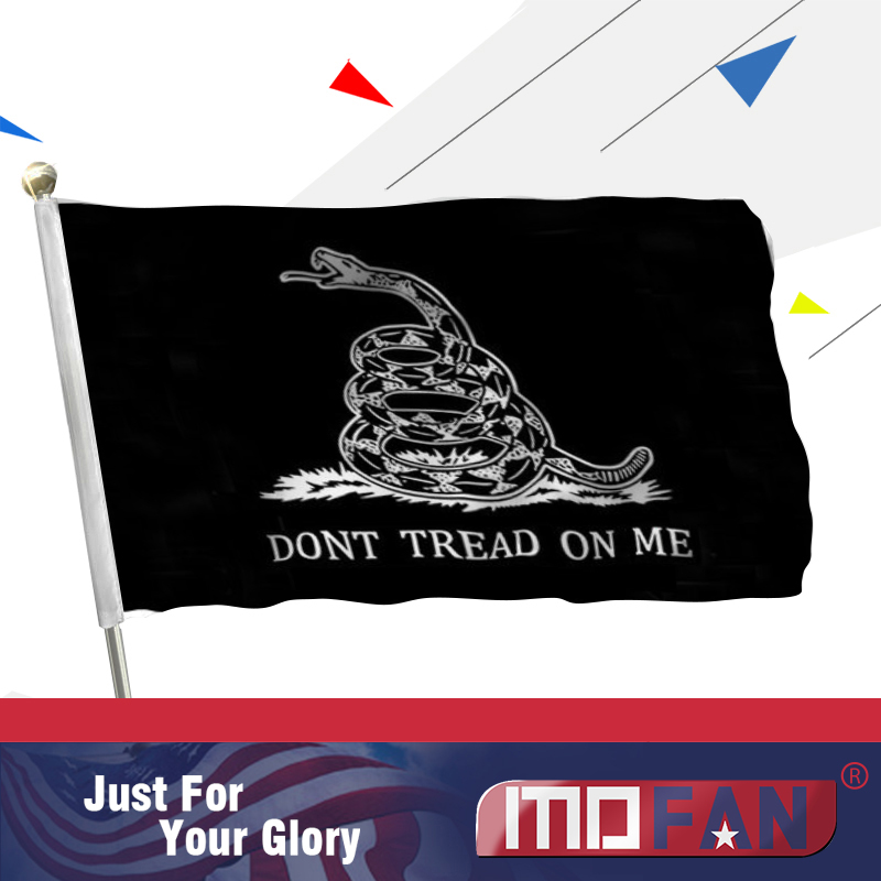 MOFAN Don't Tread On Me flag (Black) Polyester Flag-Tea Party Flag Polyester with 2 Mosaz Grommets 3x5 Ft