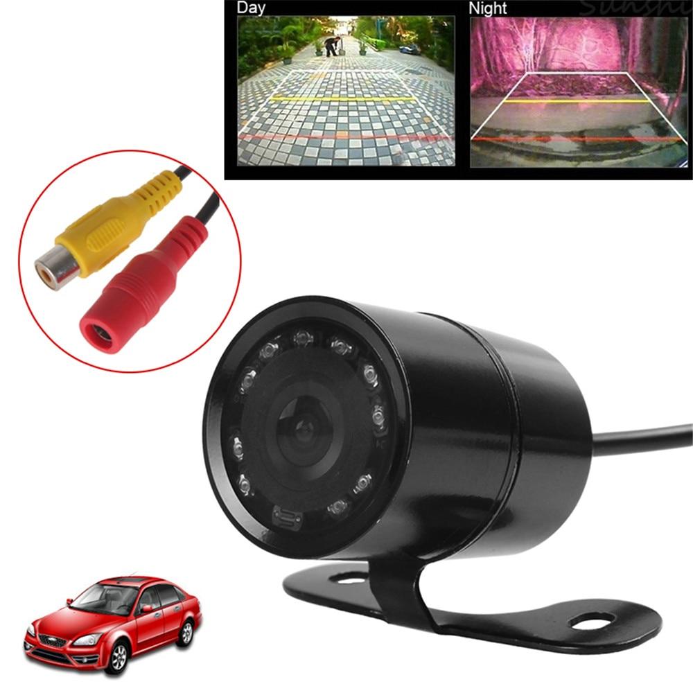 Cámara de visión trasera para automóvil a prueba de agua 12V Visión nocturna Auto cámara de vista frontal en reversa de estacionamiento Cámara de asistencia para estacionamiento en ángulo amplio
