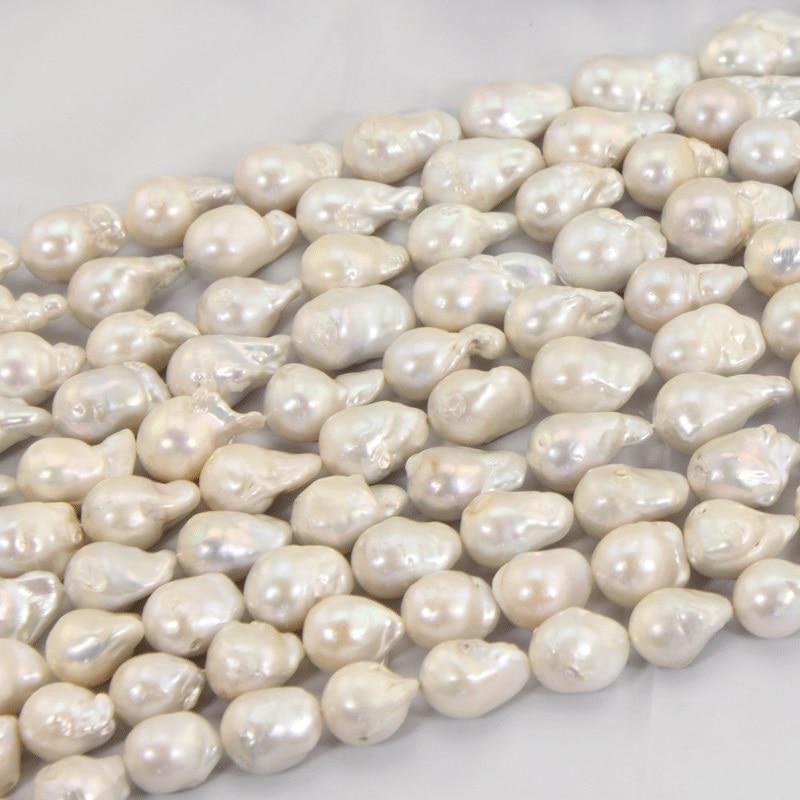 1 hebra 15 25 MM gran Perla Barroca suelta perlas hebras para mujeres collar de lujo blanco Real agua dulce perlas LPS0004-in P. torsión from Joyería y accesorios    3