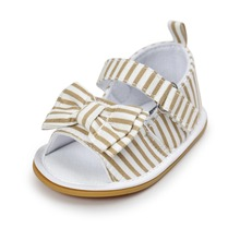 Khaki Baby Shoes Infant Toddler Newborn Pram Crib First Walkers Summer Striped Soft Rubber Soled Outdoor Princess Girls Shoe