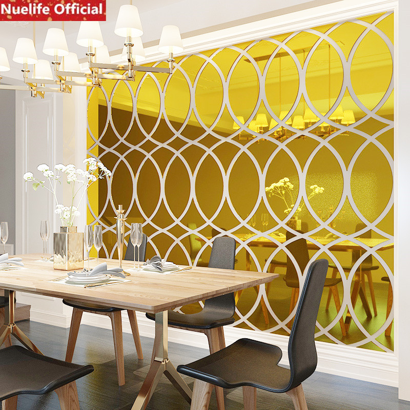 Large oval pattern acrylic mirror stickers office living room dining room bedroom TV background wall decoration wall stickers - 2