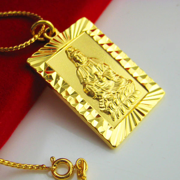 Gold necklace male men 24k gold chain guanyin pendant high gold necklace male men 24k gold chain guanyin pendant high artificial gold plated pendant aloadofball Choice Image