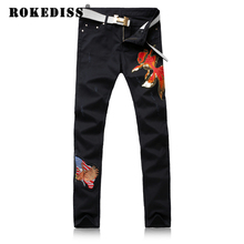 Men high quality Grinding broken Washed with water jeans Slim Foot pants male embroidery goldfish fake