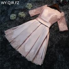 HJZY110 robe de soirée grande taille rose, à épaules dénudées, robe de demoiselle dhonneur courte, vente en gros, nouvelle collection à lacets, 2019