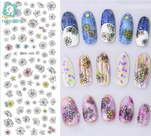 Rocooart DS348 Water Transfer Nails Art Sticker Harajuku Elements Colorful Ocean Flowers Nail Wraps Sticker Manicura Decal