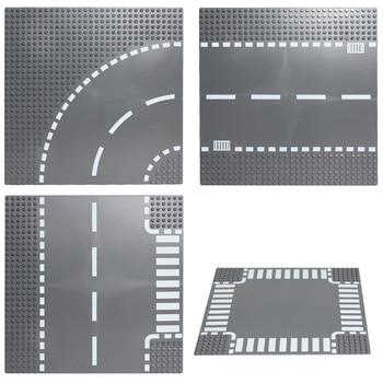 Bausteine Basis Platten Road Platte Gerade Kreuzung Kurve Block Kompatibel Legoing Spielzeug Basis Platten Spielzeug für Kinder