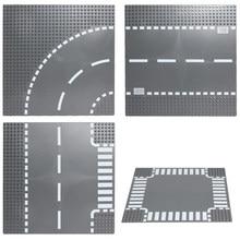 Blocos de construção placas de base placa de estrada reta crossroad curva bloco compatível legoing brinquedos placas de base para crianças